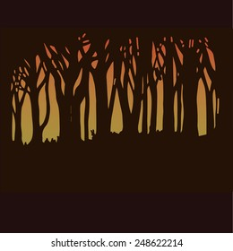 Dark forest in sunset light, silhouettes of trees. EPS10. Vector illustration. Hand drawn.