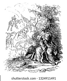 Dark forests are places where the devils mingle with the wizards, vintage engraved line art illustration. Infernal Dictionary 1863.