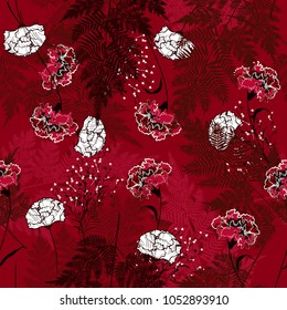 Dark garden  Floral seamless pattern blooming white and outline  flowers Botanical and fern leaves. Seamless vector   for fashion prints. Printing with in hand drawn style on stylish dark maroon  back