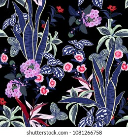 Dark Garden night  flowers vector seamless beautiful artistic bright tropical pattern with exotic forest. Colorful original stylish floral background print, bright rainbow colors on black