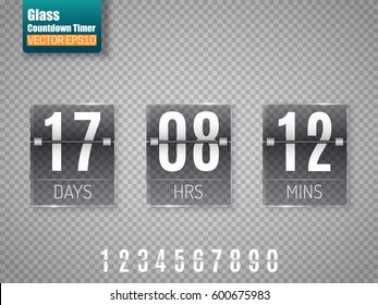 Dark Glass Countdown timer isolated on transparent background. Clock counter. Vector template