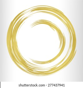 dark gold bronze Abstract vector bright painting design element. circle frame Drawing. Hand drawn. round shape background. smudges. white background. metal. text box. Brochure. card. banner. label