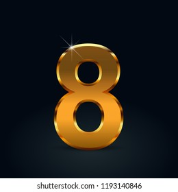 Dark gold number 8. Vector font isolated on black background