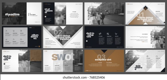 Dark Golden Minimal presentation template elements on a white background. Vector infographics. Use in Presentation, flyer and leaflet, corporate report, marketing, advertising, annual report, banner.