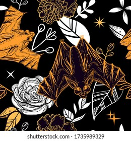 Dark gothic seamless pattern with bats and floral background. Print could be used for wrapping paper, phone case, textile.