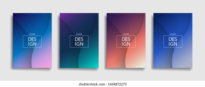 dark gradient color abstract thin line pattern background design. modern background with black color. blue pink violet orange green placard poster vector cover template.