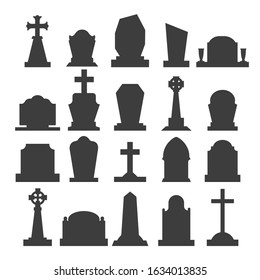 Dark gravestone icons. Grave headstone silhouettes vector blank tombstones, empty gravestones monuments, horror rip tombs vector illustration