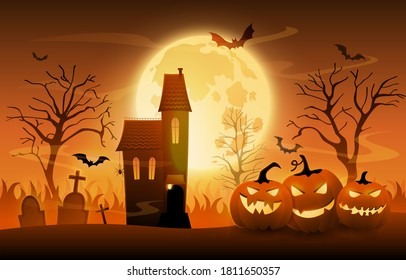 Dark graveyard with creepy pumpkins and haunted house on Halloween night sunset background, cartoon vector ilustration