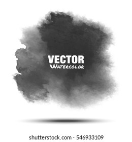 Dark gray black transparent watercolor vector grunge smear stain isolated on white background with realistic paper watercolor texture. Aquarelle grey spot. Blur light wash drawing design element