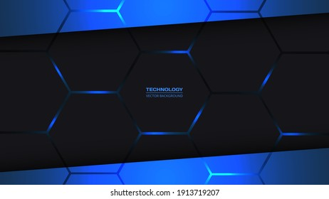 Dark gray and blue hexagonal technology vector abstract background. Blue bright energy flashes under hexagon in technology dark gray honeycomb texture grid. Ratio 1920x1080, vector illustration.