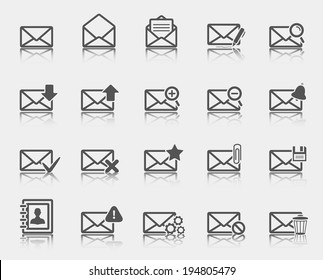 Dark gray email icons.Vector illustration.