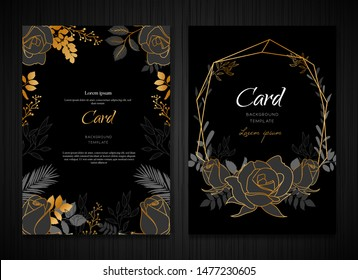 Dark Gray Floral Wedding Card Invitation Template