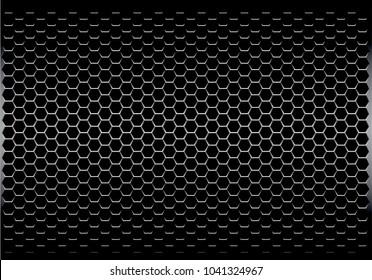 Dark gray hexagon metal mesh pattern design modern futuristic background texture vector illustration.