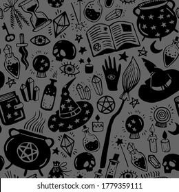 Dark gray mystical pattern. Seamless vector pattern, magic hand drawn doodle. Collection halloween elements. Magic cauldron, pot, hat, broom, potions, books, magic wand, hourglass.