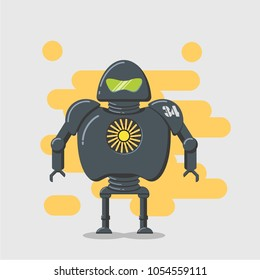 Dark gray Robot with yellow background. Vector cartoon character