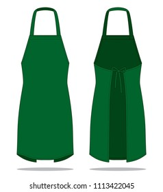 Dark Green Apron Vector For Template.Front And Back Views.