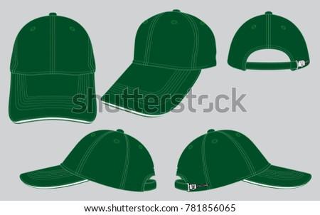 dark green baseball caps template stock vector royalty free