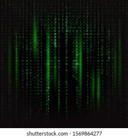 dark green binary code in matrix style with light green highlights on black background texture background. background for design, programming concept, hacking programs, piracy, technology, internet