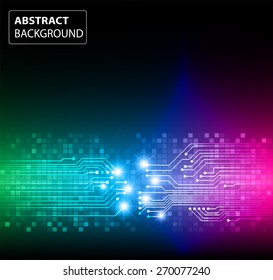 dark green blue pink color Light Abstract Technology background for computer graphic website internet and business. circuit. vector illustration. card. text box. label. banner. star