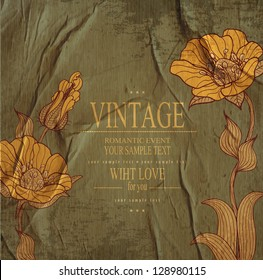 dark green congratulation vintage vector  background with drawing flowers