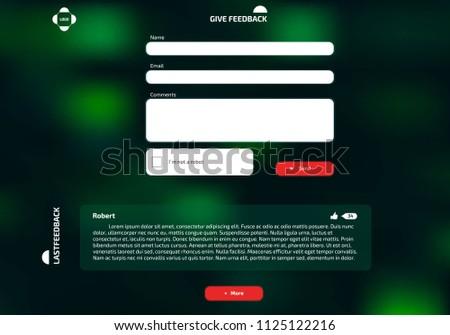 Dark Green Feedback Form Ui Webdesign Stock Vector Royalty Free