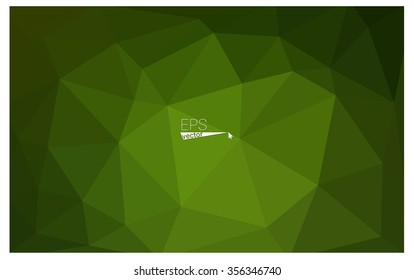 Dark green geometric rumpled triangular low poly origami style gradient illustration graphic background. Vector polygonal design for your business.
