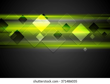 Dark green glowing tech background with squares. Vector illustration