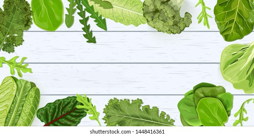 Dark green leafy vegetables frame on white wooden shabby desk. vector illustration template for decoration, fresh juicy raw leaves. Spinach, broccoli, kale, Collard. Healthy diet, vegetarian salads