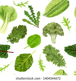 Dark green leafy vegetables seamless vector pattern isolated. fresh juicy raw leaves. Spinach, Dandelion, broccoli, Romaine Lettuce, kale, Collard. Healthy diet, vegetarian food salads, textile print