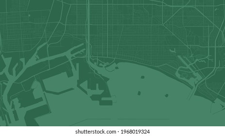 Dark green Long Beach city area vector background map, streets and water cartography illustration. Widescreen proportion, digital flat design streetmap.