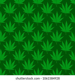 Dark green marijuana leaf seamless pattern. Hand drawn narcotic cannabis background. Hemp vector illustration backdrop.