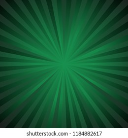 Dark green ray burst background - abstract gradient vector design from radial stripes