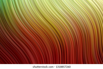 Dark Green, Red vector background with abstract lines. Blurred geometric sample with gradient bubbles. A completely new marble design for your business.