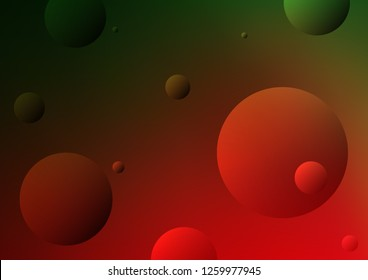 Dark Green, Red vector cover with spots. Abstract illustration with colored bubbles in nature style. The pattern can be used for beautiful websites.