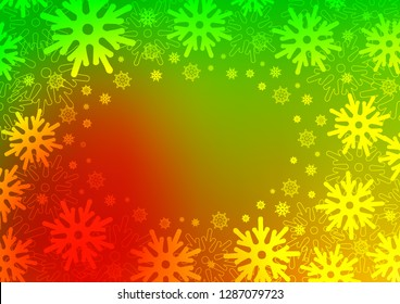 Dark Green, Red vector cover with beautiful snowflakes. Glitter abstract illustration with crystals of ice. The template can be used as a new year background.