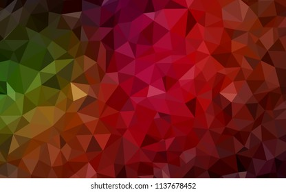 Dark Green, Red vector triangle mosaic cover. Glitter abstract illustration with an elegant triangles. Template for cell phone's backgrounds.