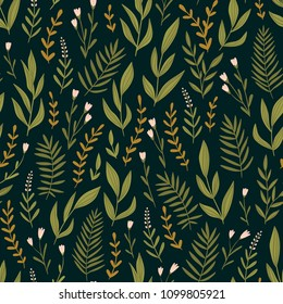 Dark green seamless pattern with night  herbs and flowers. Romantic floral background. Fabric design. Vector illustration.