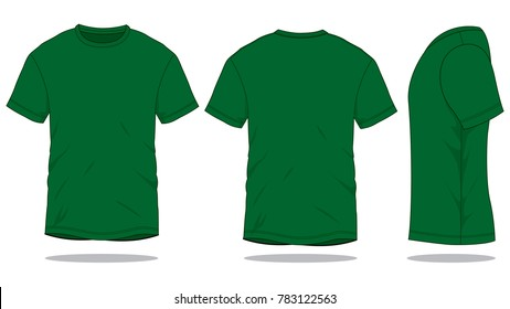 2e0bfdda9 Dark Green T Shirt for template (Front,Back and Side views)