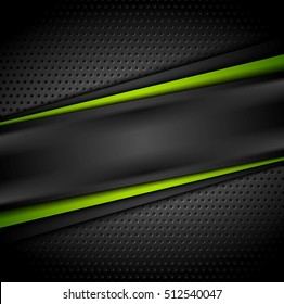 Dark green tech contrast abstract background. Perforated vector illustration