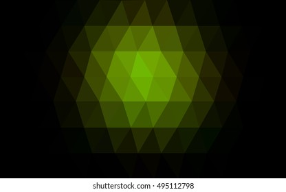 Dark green triangle mosaic background. A vague abstract illustration with gradient. The completely new template can be used for your brand book.