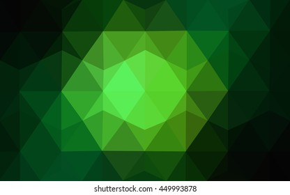 Dark green triangle mosaic template. A completely new color illustration in a vague style. Brand-new style for your business design.