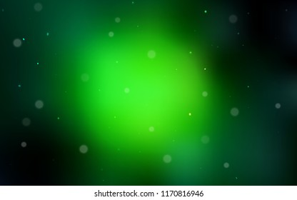 Dark Green vector backdrop with dots. Illustration with set of shining colorful abstract circles. Pattern can be used for ads, leaflets.