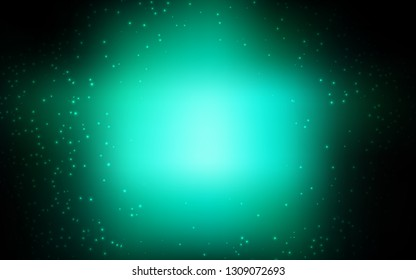 Dark Green vector background with astronomical stars. Shining illustration with sky stars on abstract template. Template for cosmic backgrounds.