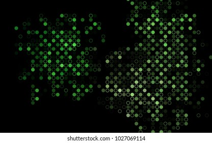 Dark Green vector  background with bubbles. Modern abstract illustration with colorful water drops. Pattern can be used as texture of water, rain drops.