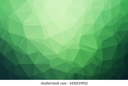 Dark Green vector blurry triangle texture. Brand new colorful illustration in with gradient. Brand new style for your business design.