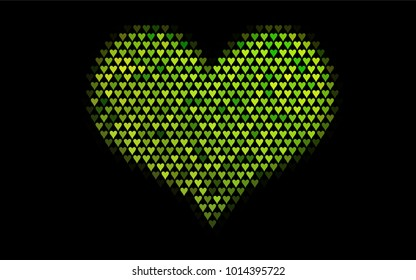 Dark Green vector greeting Card Happy Valentine's Day. Pattern with isolated hearts on the white background. Colored illustration for your banner, website, advert.