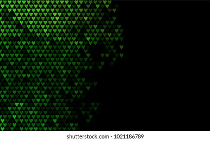Dark Green vector hearts isolated on white background. Cool pattern in origami style with gradient for Valentine day. Graphic illustration for your business design.