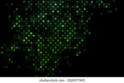 Dark Green vector  layout with circle shapes. Glitter abstract illustration with blurred drops of rain. Completely new template for your brand book.