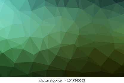 Dark Green vector low poly cover. Creative illustration in halftone style with gradient. Polygonal design for your web site.