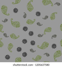 Dark Green vector seamless elegant template with leaves and flowers. Leaves, flowers in natural style on white background. Hand painted design for web, leaflet, textile.